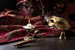 Ljusstake- och karnevalmaskeringar Fotografering för Bildbyråer