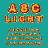 Ljust abc Retro alfabet med lampor glödande bokstäver stilsortspoin Arkivbilder