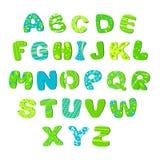 Ljust barnalfabet - gröna blått Fotografering för Bildbyråer