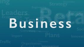 Ljust - blå bakgrund med olika ord, som handlar med affär close upp kopiera avstånd 3d vektor illustrationer