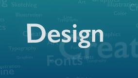Ljust - blå bakgrund med olika ord, som handlar med design close upp kopiera avstånd 3d royaltyfri illustrationer