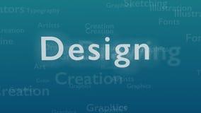 Ljust - blå bakgrund med olika ord, som handlar med design close upp kopiera avstånd 3d vektor illustrationer