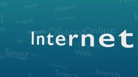 Ljust - blå bakgrund med olika ord, som handlar med internet close upp kopiera avstånd 3d royaltyfri illustrationer