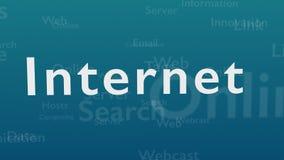 Ljust - blå bakgrund med olika ord, som handlar med internet close upp kopiera avstånd 3d stock illustrationer