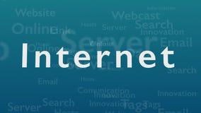 Ljust - blå bakgrund med olika ord, som handlar med internet close upp kopiera avstånd 3d vektor illustrationer