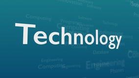 Ljust - blå bakgrund med olika ord, som handlar med teknologi close upp kopiera avstånd 3d stock illustrationer