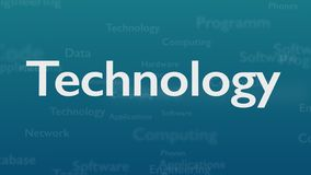 Ljust - blå bakgrund med olika ord, som handlar med teknologi close upp kopiera avstånd 3d vektor illustrationer