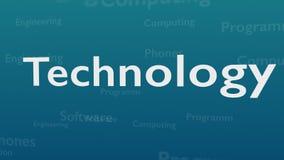 Ljust - blå bakgrund med olika ord, som handlar med teknologi close upp kopiera avstånd 3d royaltyfri illustrationer