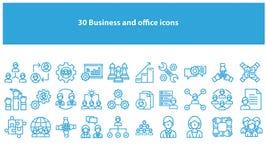 Ljust - blåa vektoraffärs- och kontorssymboler royaltyfri illustrationer