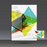 Ljust bokomslag Abstrakt vektorsammansättning av trianglar för utskrift av böcker, broschyrer, broschyrer Royaltyfri Fotografi