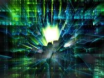 Ljust brott på elektronisk bakgrund, virusbegrepp royaltyfri illustrationer