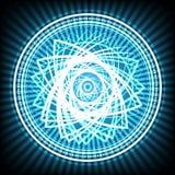 Ljust cirkelabstrakt begrepp på blå bakgrundsvektorillustration royaltyfri foto