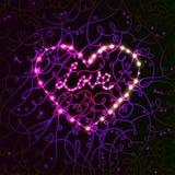 Ljust electro kort för hjärtavalentindag. Royaltyfri Fotografi