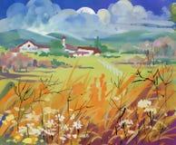 Ljust fält med hus och berg under molnig himmel stock illustrationer