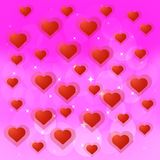 Ljust färgrik illustration med hjärtor Bakgrundsdesign för hälsningkort och affisch med röda hjärtor Arkivfoto