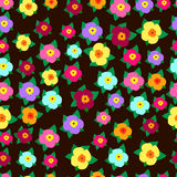 Ljust färgrikt, dekorativt, slår ut av blommor med sidor på ett D vektor illustrationer