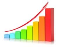 Ljust färgrikt växande begrepp för framgång för affär för stångdiagram Arkivbild