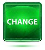 Ljust för ändringsneon - grön fyrkantknapp stock illustrationer