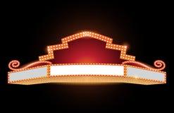 Ljust för bioneon för teater glödande retro tecken stock illustrationer