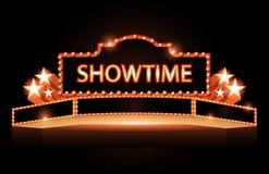 Ljust för bioneon för teater glödande retro tecken royaltyfri illustrationer