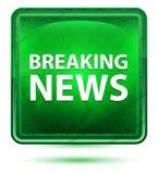 Ljust för breaking newsneon - grön fyrkantknapp stock illustrationer
