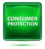 Ljust för neon för konsumentskydd - grön fyrkantknapp royaltyfri illustrationer