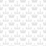 Ljust fast tillbehör, lampor sömlös modell, linje illustration Vektorsymboler av hem- belysningsutrustning - ljuskrona som är mod royaltyfri illustrationer