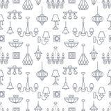 Ljust fast tillbehör, lampor sömlös modell, linje illustration Vektorsymboler av hem- belysningsutrustning - ljuskrona, tabell royaltyfri illustrationer