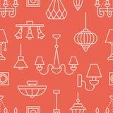 Ljust fast tillbehör, sömlös modell för lampor, illustration Vektorsymboler av hem- belysningsutrustning - ljuskrona, makthålighe royaltyfri illustrationer