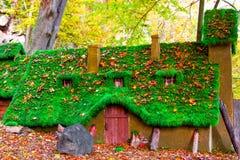 Ljust felikt hus med grästakhösten, sommar Arkivbild