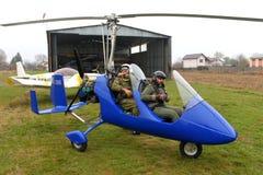 Ljust flygplan - gyrocopter Royaltyfri Fotografi