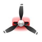 Ljust flygplan med propellern Arkivfoton