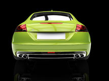 Ljust - grön bil på svart bakgrundsbaksidasikt Royaltyfria Foton