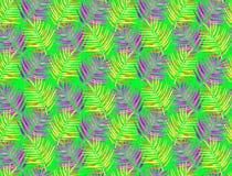 Ljust - grön fluorescerande bakgrund med rosa och gula palmblad royaltyfri illustrationer
