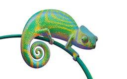 Ljust - grön kameleont på en filial, tolkning 3d Arkivfoto