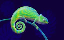 Ljust - grön kameleont på filialen, tolkning 3d siktssida Fotografering för Bildbyråer
