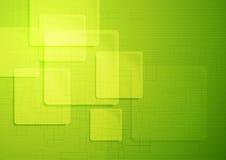 Ljust - grön teknisk fyrkantbakgrund stock illustrationer