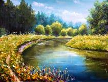 Ljust - gröna träd reflekteras i vattenhavet Landskapet är sommar på vatten Natur Flodbank lantlig liggande Original olje- Pai stock illustrationer