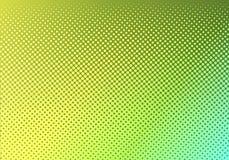 Ljust - grönt med den gula prickiga halvton Urblekt prickig lutning Abstrakt vibrerande färgtextur Modern mall för design för pop vektor illustrationer