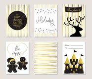 Ljust guld- kort för förälskelsejulhälsning med ljust rödbrun bröd och kakan Arkivbild