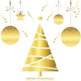 Ljust guld- kort för julträd med den snöflingabollen och stjärnan Arkivfoto