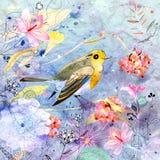 Blom- bakgrund med en fågel Royaltyfri Fotografi