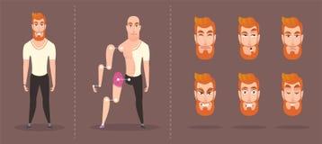 Ljust hipstertecken ställ in av beståndsdelar för animering stock illustrationer