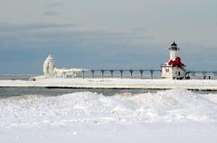 Ljust hus för St Joe i vinter Fotografering för Bildbyråer