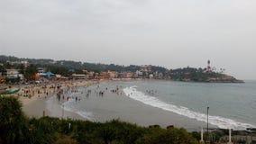 Ljust hus, Kovalam strand, Thiruvananthapuram, Kerala Royaltyfri Fotografi