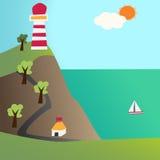 Ljust hus och havet Arkivbild
