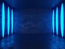 Ljust konkret rum med den tomma affischen Galleri utställning som annonserar begrepp Åtlöje upp, illustration 3D vektor illustrationer