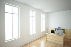 Ljust kontor med fönster royaltyfri illustrationer