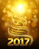 Ljust kort för jul och nytt år Julgran som göras av insättningar, signalljusstjärnor Det ljusa glödet för 2017 Vektor Illustratio Arkivbilder