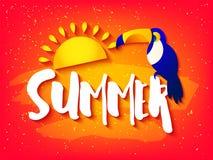 Ljust kort för sommar med tukan, solen och text på röd bakgrund Plan design Tropiskt baner för vektor Royaltyfria Foton